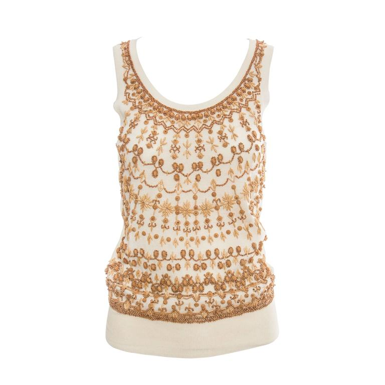 Alexander McQueen Cream Cotton Silk Tank Embroidered Wood Beading, Spring 2006 1