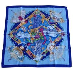 Hermès Silk Scarf Au clair de la Lune Mon ami Pierrot Sandra Laroche Blue 90 cm