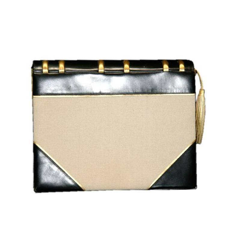 Paloma Picasso Beige Book Bag W Black Gold Leather Autographed 1