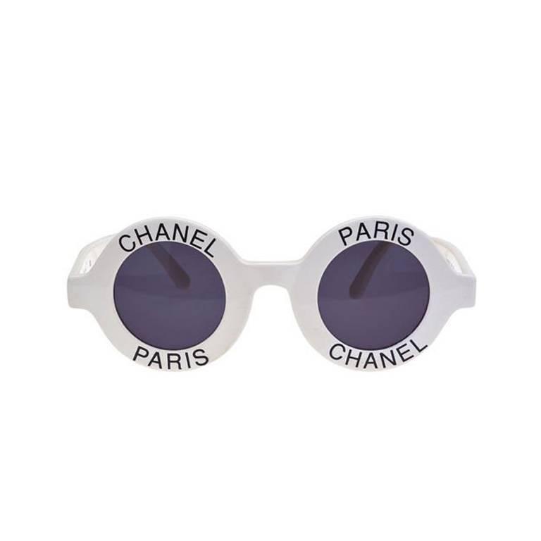 Chanel Logo Frame White Sunglasses 1