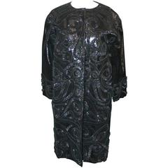 Oscar de la Renta Black Incredible Lizard Embossed Patent Embroidered Coat - M