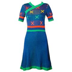 Iconic Giorgio Sant'Angelo Vintage 1970s Colorful Striped Knit X Dress