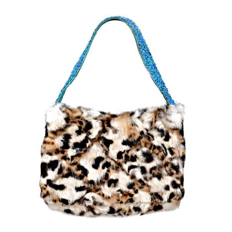 9ce0535ebe 1990-s RARE GIANNI VERSACE FUR HANDBAG with TURQUOISE STONES For Sale