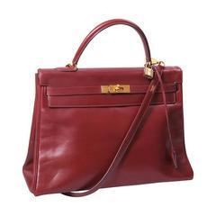 Hermes 1979 Burgundy Box Kelly Bag 35cm with Shoulder Strap