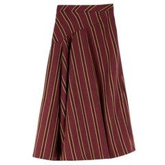 Palmer//Harding Striped Cotton-blend Twill Midi Skirt US 4