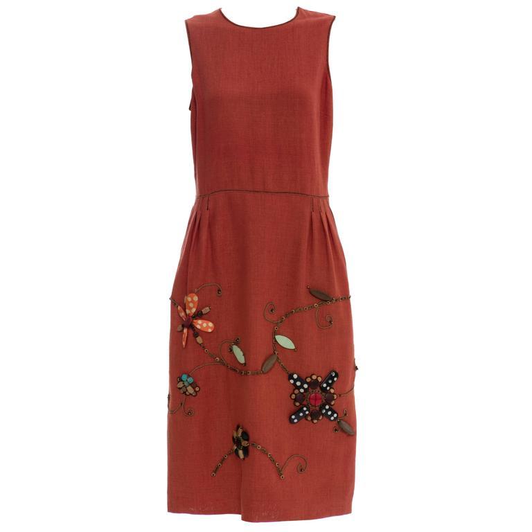 Oscar de la Renta Sleeveless Linen Dress Wood Bead Embroidery, Spring 2006 For Sale