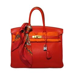 Rote Vif 35cm Clemence Birkin Tasche von Hermes