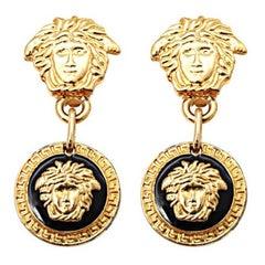 Gianni Versace Medusa Black/Gold Earrings