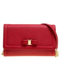Salvatore Ferragamo Red Leather Vara Bow Clutch