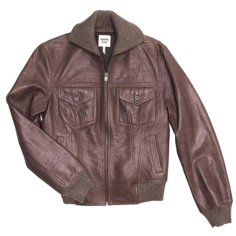 Hermes Brown Bison Bomber Style Jacket