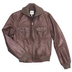 Hermes Brown Bison Bomber Style Jacket