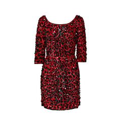 Dolce & Gabbana RED SEQUINED SILK LEOPARD PRINT DRESS