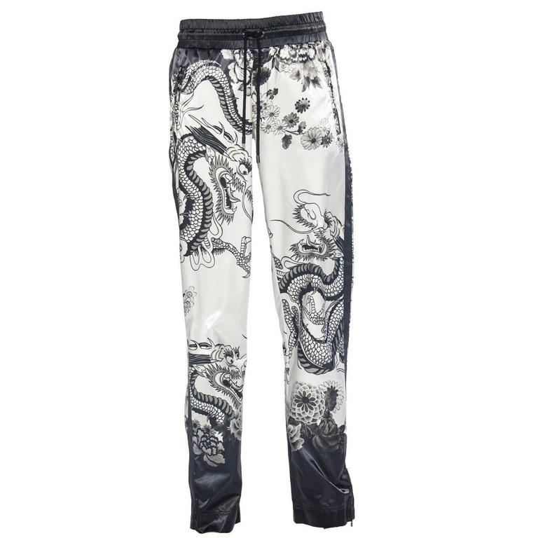 Dolce & Gabbana Men's White Black Satin Dragon Print Pants, Spring - Summer 2009 For Sale