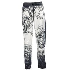 Dolce & Gabbana Men's White Black Satin Dragon Print Pants, Spring - Summer 2009