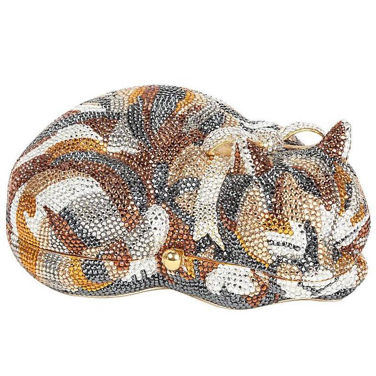 Iconic Judith Leiber Sleeping Cat Jeweled Crystal Minaudière Clutch Bag