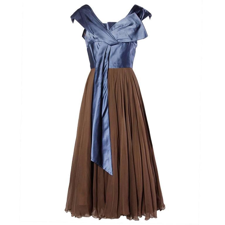 1950s Vintage Couture Silk Satin + Creamy Silk Chiffon Formal Dress ...