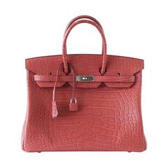 Hermes Birkin 35 Rare Rose Indienne Matte Alligator Palladium Hardware