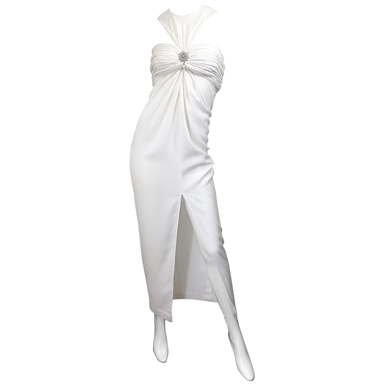 1990s Tadashi Shoji Size 4 White Avant Garde Rhinestone Pearl Vintage 90s Gown