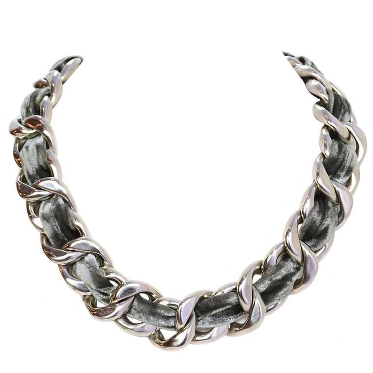 CHANEL Grey Velvet Woven Silver Oversized Chain Link Necklace For Sale
