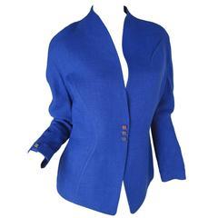 Thierry Mugler Blue Linen Blazer
