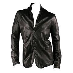 GIORGIO BRATO -Organic Edition- Size 44 Men's Black Distressed Leather Jacket