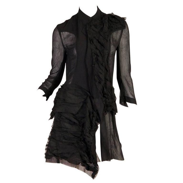 1990s Yohji Yamamoto Sheer Deconstructed Shirt Dress