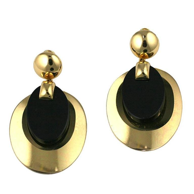 Christian Dior Gold Disc and Bakelite Mod Earrings 1