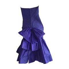 Incredible Vintage Angelo Tarlazzi Paris Royal Blue Polka Dot Avant Garde Dress