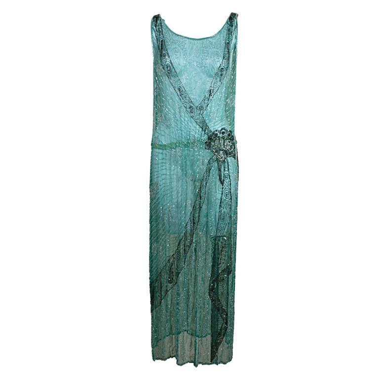 1920s Turquoise Tabard-Style Beaded Flapper Dress 1