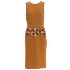 Oscar De la Renta Runway Sleeveless Embroidered Linen Dress, Spring 2006