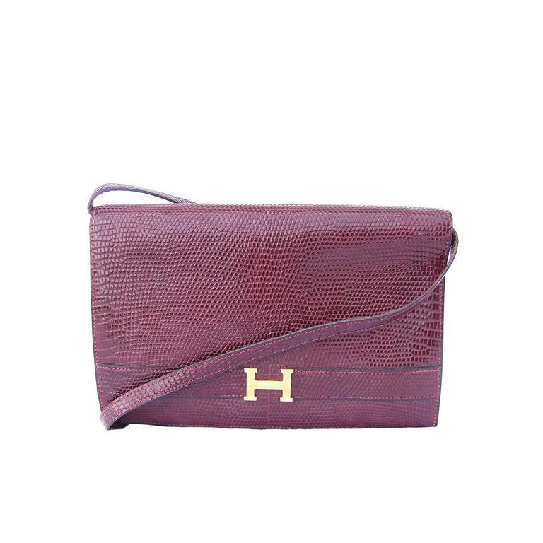 Authentic Hermes Annie Clutch Bag 2 ways Burgundy Lizard Gold Hardware at  1stdibs 491fbb70ffaec