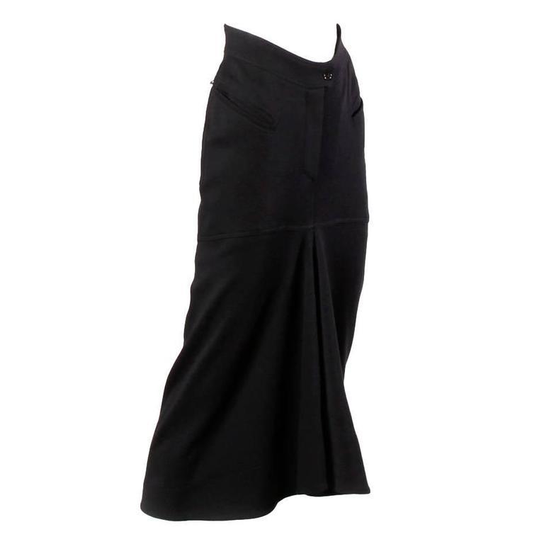 Claude Montana Vintage 1980s Avant Garde Wool Flounce Skirt