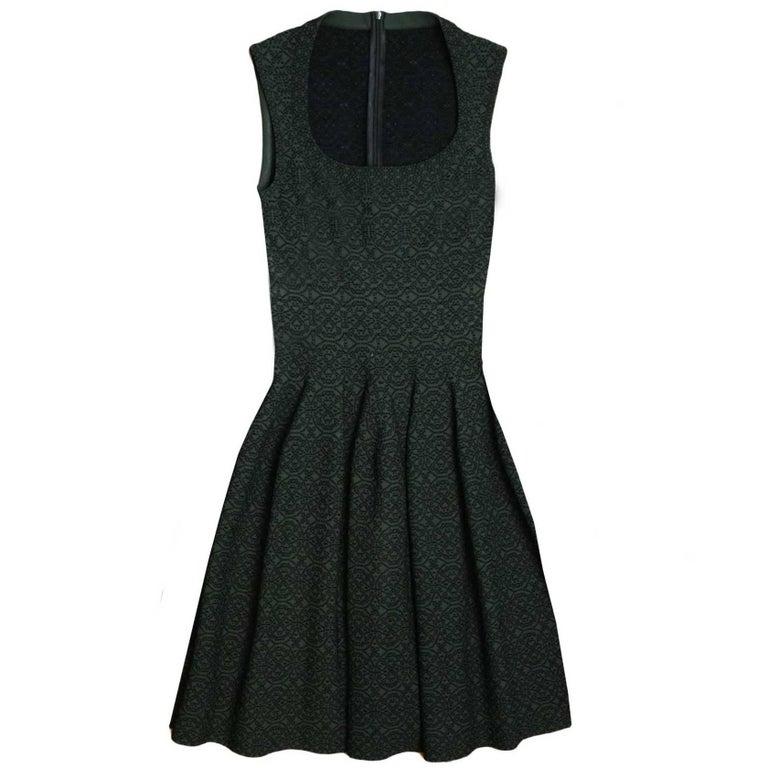 ALAIA Dark Green Sleeveless Fit Flare Dress sz 40 For Sale