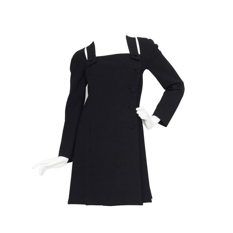 1980s Gianni Versace Couture Wool Little Black Dress