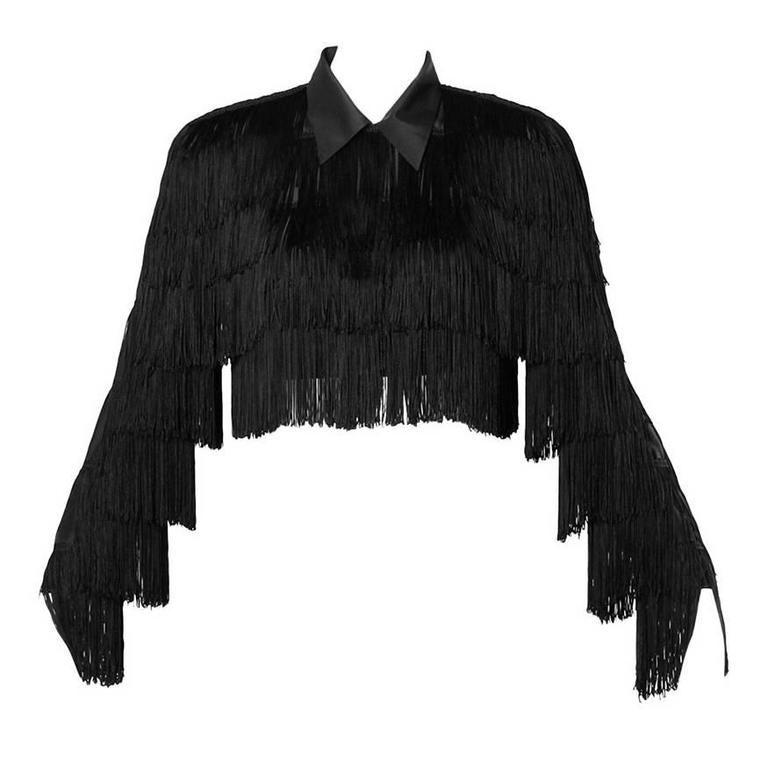 Norma Kamali Omo Vintage 1980s Black Fringe Jacket 1