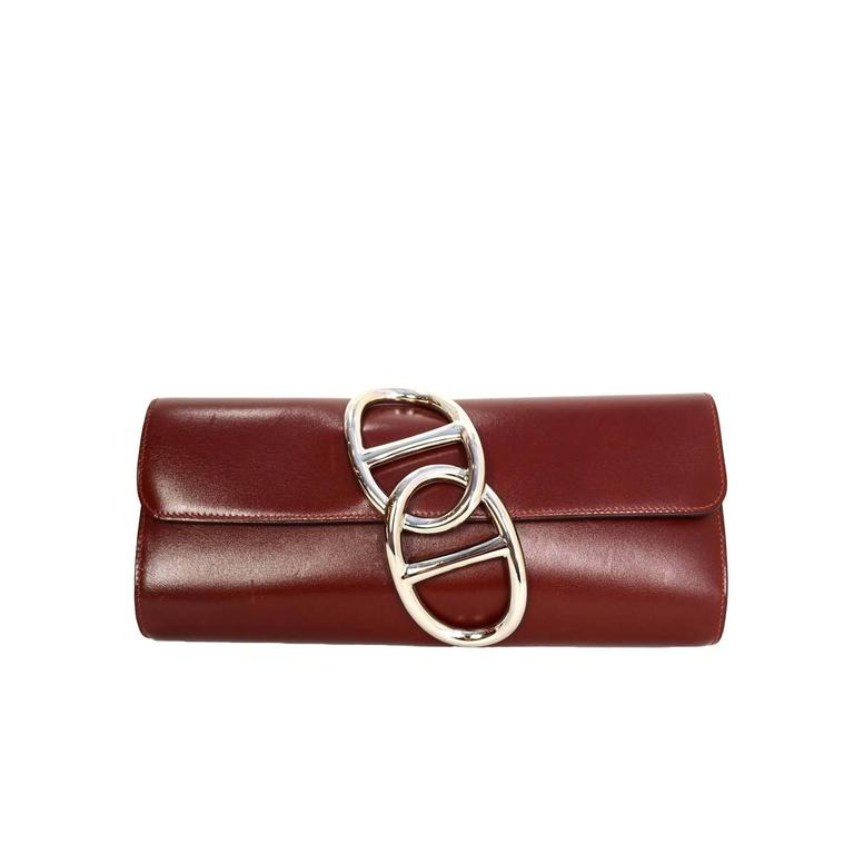 HERMES Burgundy Box Leather Egee Clutch Bag PHW 1