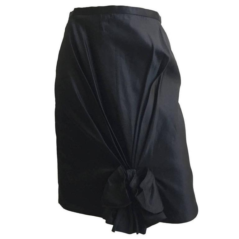Bill Blass Black Silk Size 4 Evening Skirt, 1970s