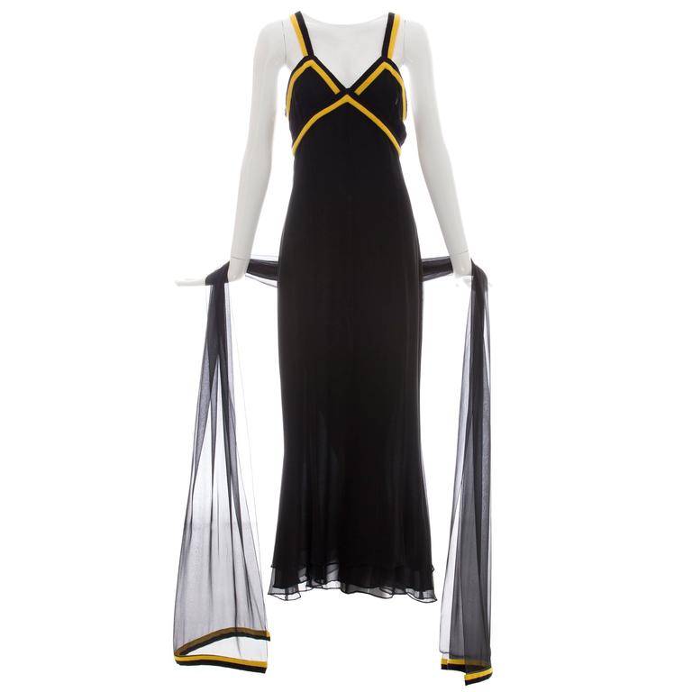Chanel Black Sleeveless Silk Chiffon Dress With Yellow Cashmere Trim, Fall 1994 For Sale