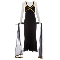 Chanel Black Sleeveless Silk Chiffon Dress With Yellow Cashmere Trim, Fall 1994