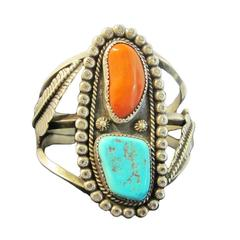 American Indian Early Pawn Turquoise and Coral Sterling Silver Cuff