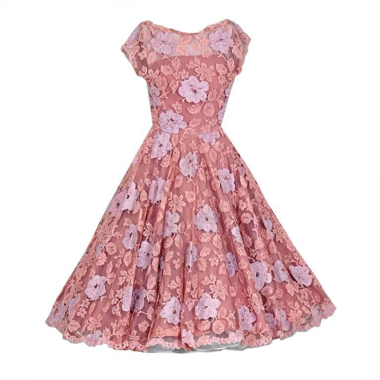 1950's Werle Baby-Pink Appliqued French Chantilly-Lace Full Party Dress 1