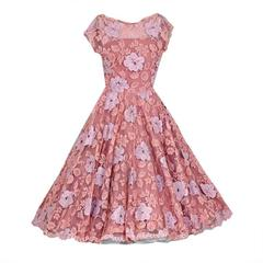 1950's Werle Baby-Pink Appliqued French Chantilly-Lace Full Party Dress