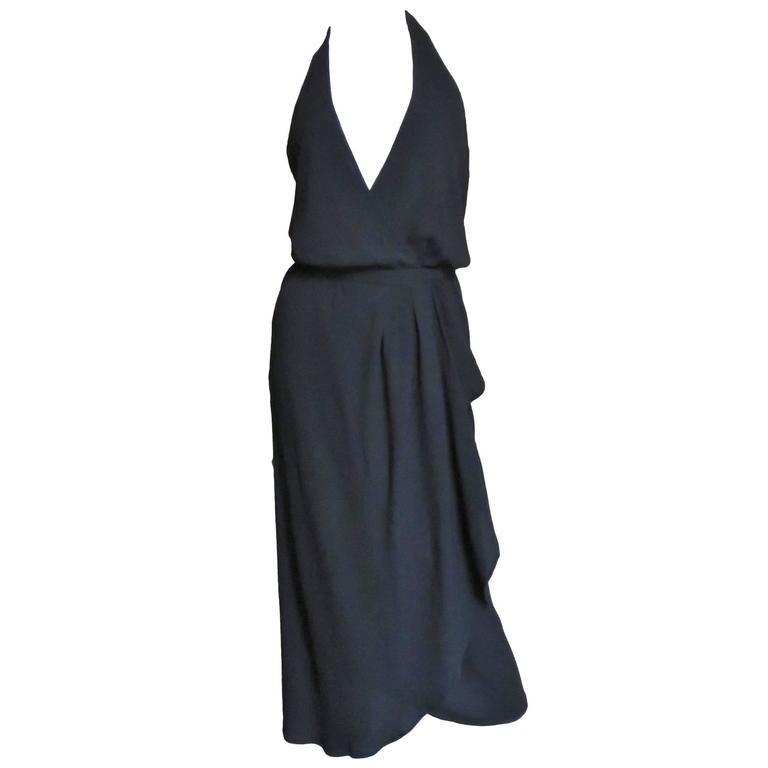 1970s Halston American Hustle Plunge Wrap Halter Dress