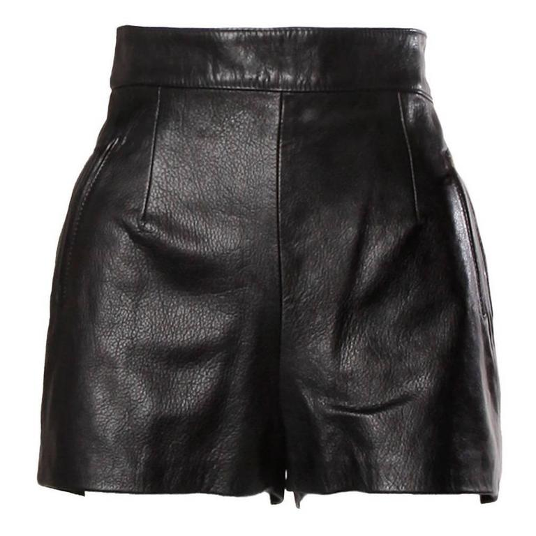 Moschino Vintage Black Leather High Waisted Shorts 1