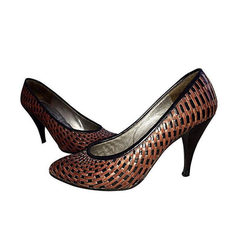 Vintage Charles Jourdan Black + Brown Leather Wicker Heels / Shoes ...