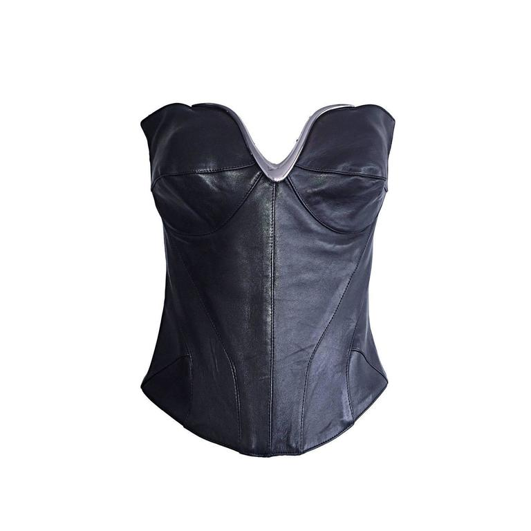 Iconic Vintage Thierry Mugler Couture Black Leather Space Age Corset Bustier For Sale