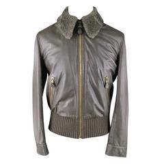 BOTTEGA VENETA Men's 40 Bomber Leather Taupe Jacket / Detachable Fur Collar