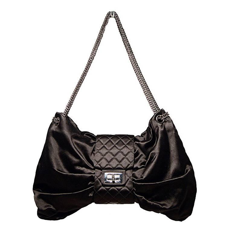 Chanel Black Satin Bow Shoulder Evening Bag 1