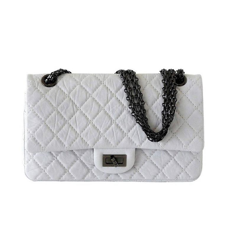 Chanel Bag 225 Small Chalk White Distressed Leather Double Flap For Sale