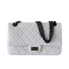CHANEL Bag 225 Small Chalk White Distressed Leather Double Flap